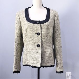 Max Mara tweed beige black ruffle blazer jacket